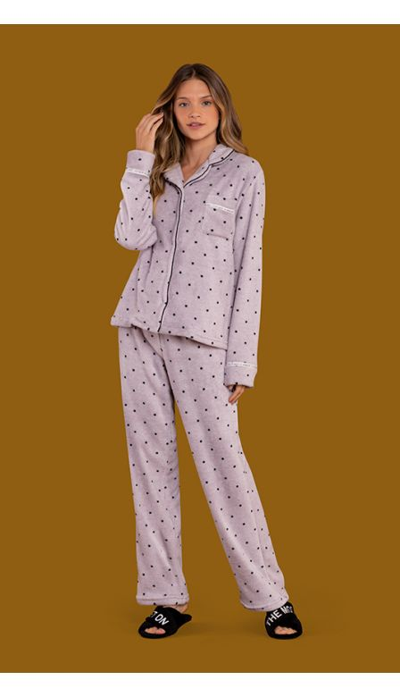 Pijama Aberto Fleece Moonlight