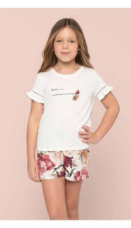 Pijama Curto Kids Floresce