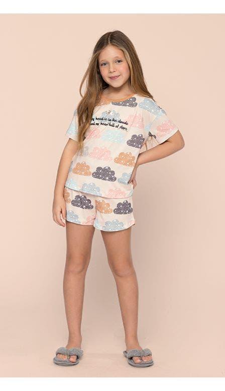 Pijama Curto Kids Nas Nuvens