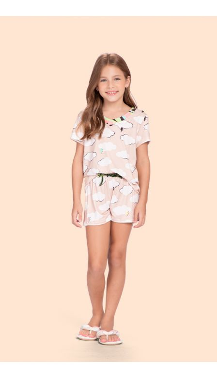 Pijama Curto Infantil Over The Clouds
